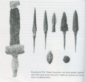 Iron sword, arrowhead, and two lead sling bullets found on the field of  Marathon