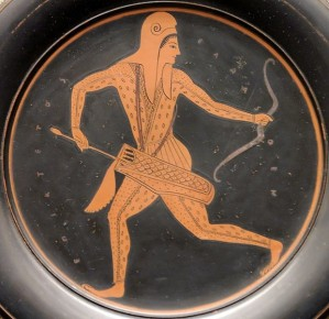 This is a red vase and based on my research this is an accurate depiction of how the archers in this time period looked, artist Epiktetos (signed), time frame between circa 520 and circa 500 BC