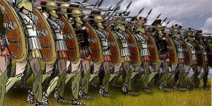 Illustration of Greek hoplites in a phalanx battle formation. (Tungsten (Wikipedia), 2007) http://en.wikipedia.org/wiki/File:Greek_Phalanx.jpg
