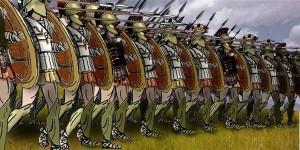 Illustration of Greek hoplites in a phalanx battle formation. (Tungsten (Wikipedia), 2007) http://en.wikipedia.org/wiki/File:Greek_Phalanx.jpg