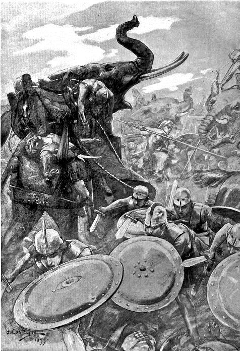 An illustration of the Macedonian infantry facing off against the Indian war elephants. (Castaigne (Wikipedia), 1911) http://en.wikipedia.org/wiki/File:The_phalanx_attacking_the_centre_in_the_battle_of_the_Hydaspes_by_Andre_Castaigne_(1898-1899).jpg