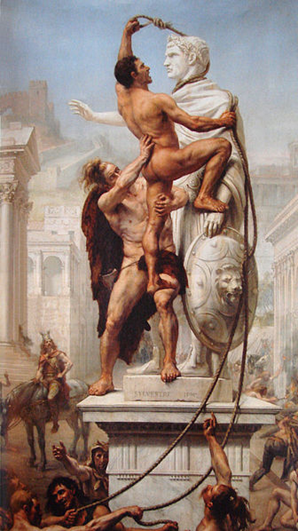 Painting of Visigoths pulling down a monument after entering Rome. Retrieved from http://en.wikipedia.org/wiki/File:Sack_of_Rome_by_the_Visigoths_on_24_August_410_by_JN_Sylvestre_1890.jpg