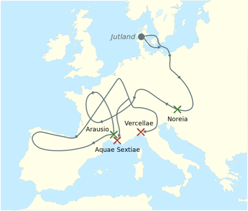 Map showing the warpath of the massive Germanic army. Retrieved from http://en.wikipedia.org/wiki/File:Cimbrians_and_Teutons_invasions.svg