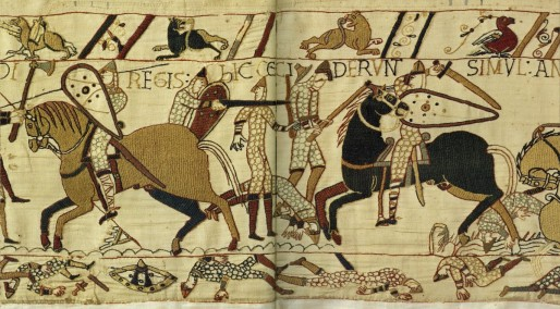 The scene depicts the intense fighting during the Battle of Hastings.